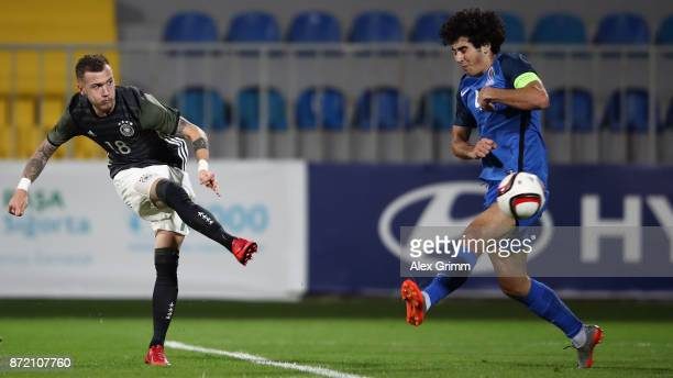 Marcel Hartel of Germany scores his team's fifth goal during the UEFA Under21 Euro 2019 Qualifier match between Azerbaijan U21 and Germany U21 at...