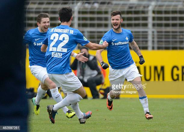 Marcel Heller of Darmstadt celebrates after scoring his teams opening goal during the third league match between SV Darmstadt 98 and SV Wehen...