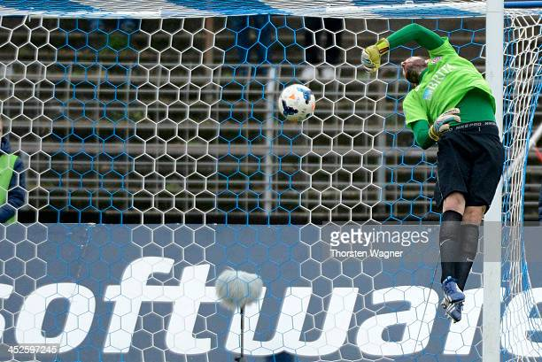 Marcel Heller of Darmstadt is scoring the opening goal during the third league match between SV Darmstadt 98 and SV Wehen Wiesbaden at Stadion am...