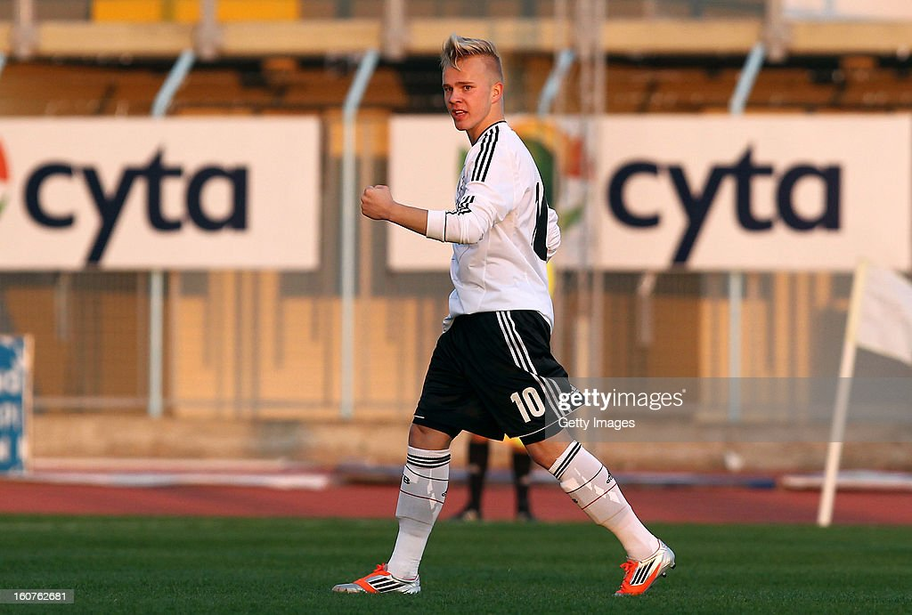 Marcel Hilssner of Germany celebrates his team's first goal during the international friendly match between U18 Cyprus and U18 Germany at Stadio Tasos Markou on February 5, 2013 in Paralimni, Cyprus.