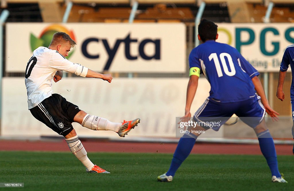 Marcel Hilssner of Germany scores his team's first goal during the international friendly match between U18 Cyprus and U18 Germany at Stadio Tasos Markou on February 5, 2013 in Paralimni, Cyprus.