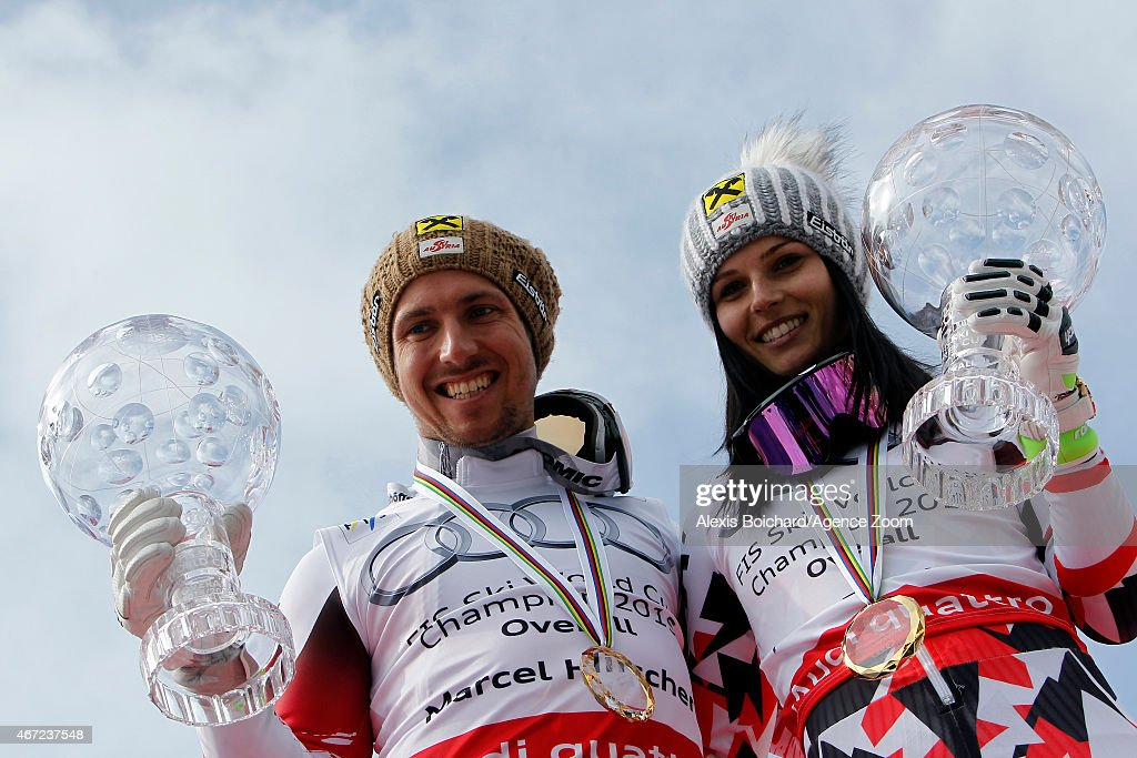 Marcel Hirscher and Anna Fenninger of Austria win the overall World Cup globes during the Audi FIS Alpine Ski World Cup Finals on March 22 2015 in...