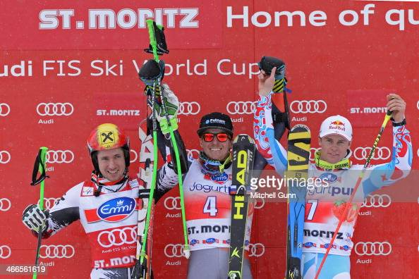 Marcel Hirscher of Austria 2nd placed racer Ted Ligety of The USA race winner and Alexis Pinturault of France 3rd placed racer on the podium of the...