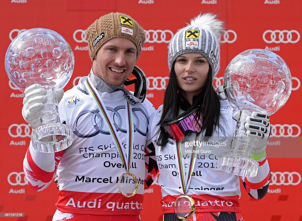 Marcel Hirscher of Austria and Anna Fenninger of Austria pose with the crystal globes for the overall titles after the FIS Alpine Ski World Cup men's...