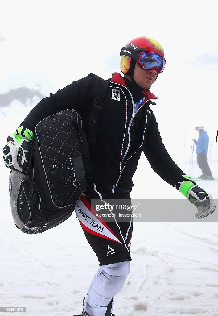 <a gi-track='captionPersonalityLinkClicked' href=/galleries/search?phrase=Marcel+Hirscher&family=editorial&specificpeople=4784559 ng-click='$event.stopPropagation()'>Marcel Hirscher</a> of Austria arrives for a Alpine Skiing training session on day 10 of the Sochi 2014 Winter Olympics at Rosa Khutor Mountain Cluster on February 17, 2014 in Sochi, Russia.