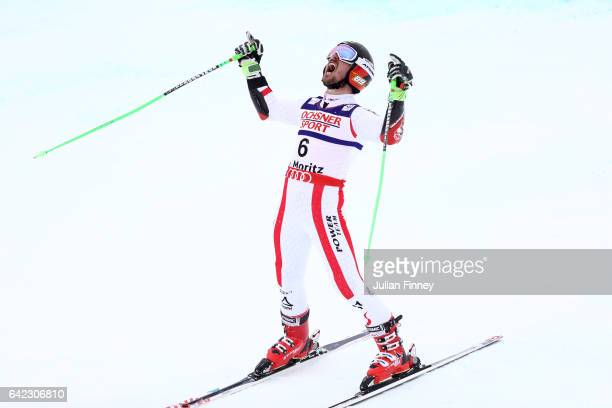 Marcel Hirscher of Austria celebrates after winning the gold medal in the Men's Giant Slalom during the FIS Alpine World Ski Championships on...