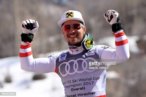Marcel Hirscher of Austria celebrates for being awarded the overall season men's champion at the 2017 Audi FIS Ski World Cup Finals at Aspen Mountain...