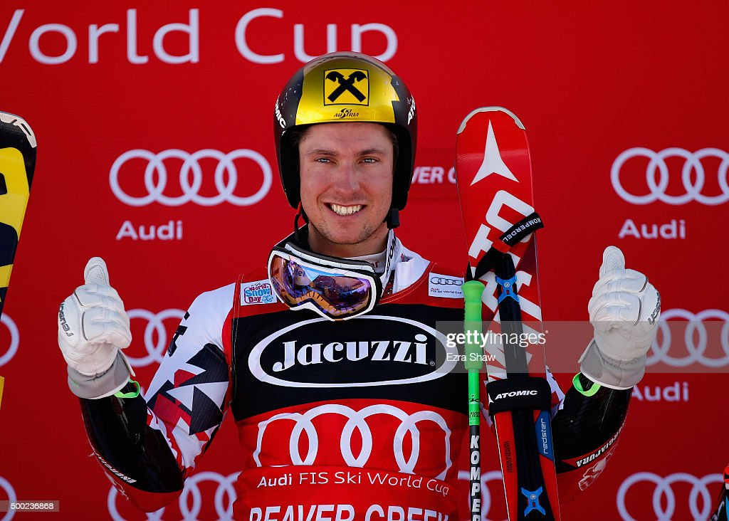 <a gi-track='captionPersonalityLinkClicked' href=/galleries/search?phrase=Marcel+Hirscher&family=editorial&specificpeople=4784559 ng-click='$event.stopPropagation()'>Marcel Hirscher</a> of Austria celebrates on the podium after winning the Audi FIS Ski World Cup Giant Slalom race on the Birds of Prey on December 6, 2015 in Beaver Creek, Colorado.