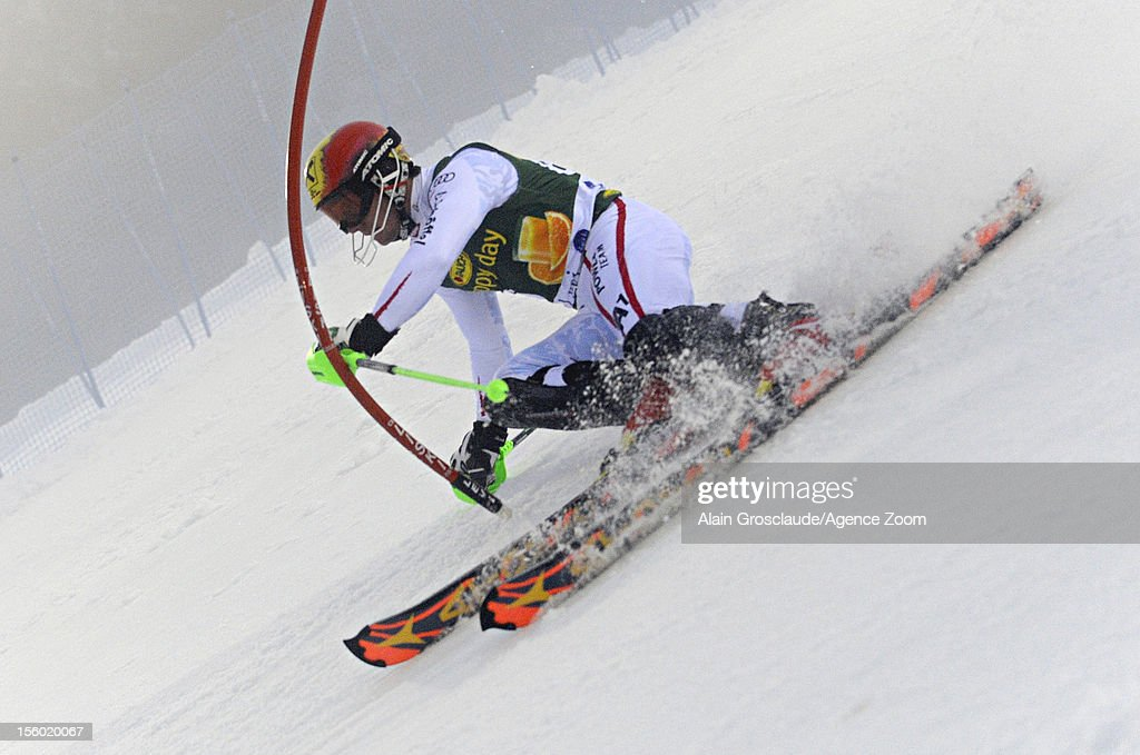 Marcel Hirscher of Austria competes during the Audi FIS Alpine Ski World Cup Men's Slalom on November 11, 2012 in Levi, Finland.