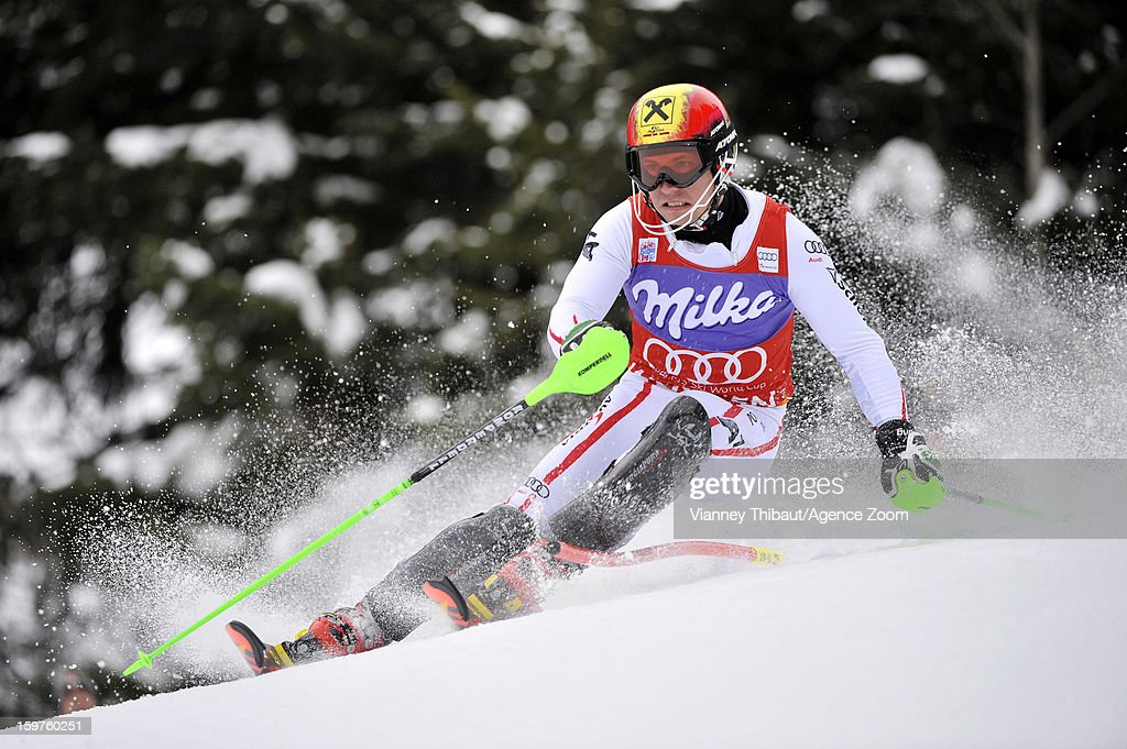 <a gi-track='captionPersonalityLinkClicked' href=/galleries/search?phrase=Marcel+Hirscher&family=editorial&specificpeople=4784559 ng-click='$event.stopPropagation()'>Marcel Hirscher</a> of Austria competes during the Audi FIS Alpine Ski World Cup Men's Slalom on January 20, 2013 in Wengen, Switzerland.