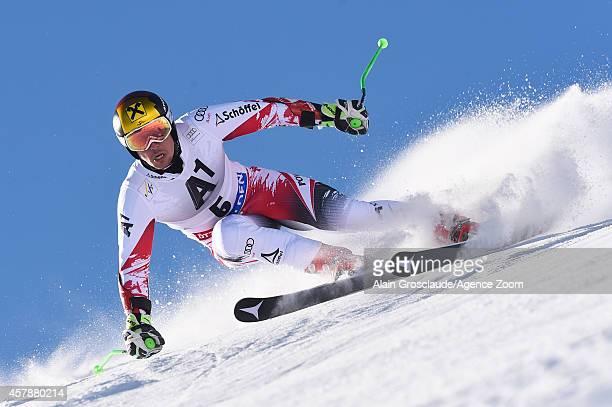 Marcel Hirscher of Austria competes during the Audi FIS Alpine Ski World Cup Men's Giant Slalom on October 26 2014 in Soelden Austria