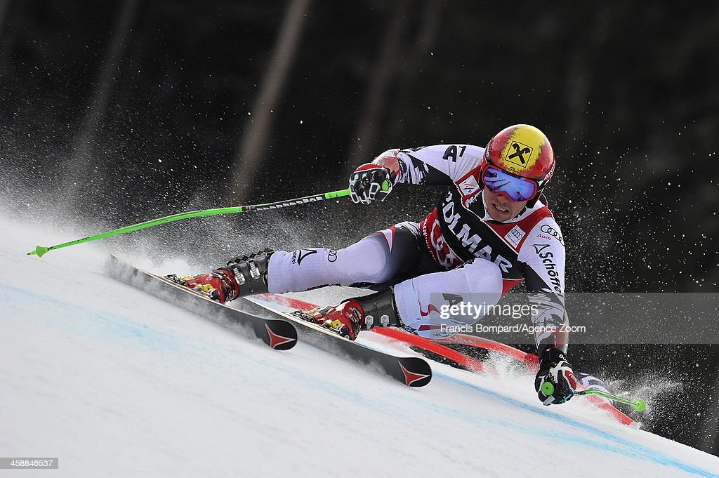 Marcel Hirscher of Austria competes during the Audi FIS Alpine Ski World Cup Men's Giant Slalom on December 22 2013 in Alta Badia Italy