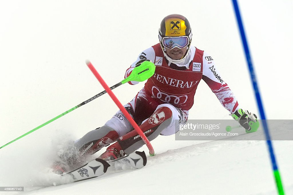 <a gi-track='captionPersonalityLinkClicked' href=/galleries/search?phrase=Marcel+Hirscher&family=editorial&specificpeople=4784559 ng-click='$event.stopPropagation()'>Marcel Hirscher</a> of Austria competes during the Audi FIS Alpine Ski World Cup Men's Slalom on November 16, 2014 in Levi, Finland.