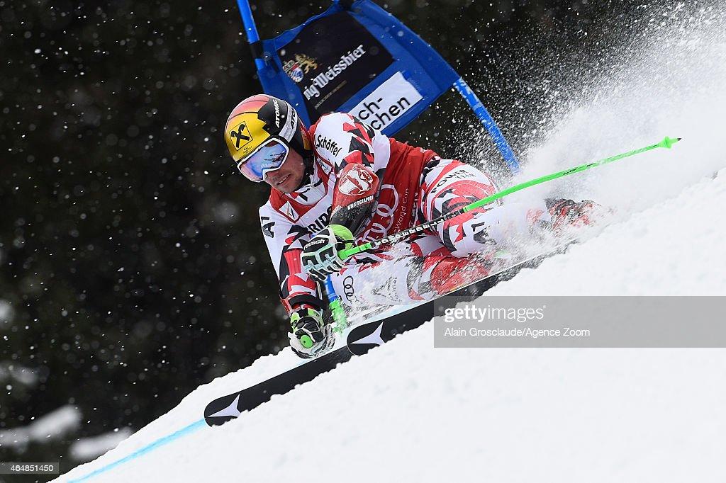 Marcel Hirscher of Austria competes during the Audi FIS Alpine Ski World Cup Men's Giant Slalom on March 01 2015 in GarmischPartenkirchen Germany