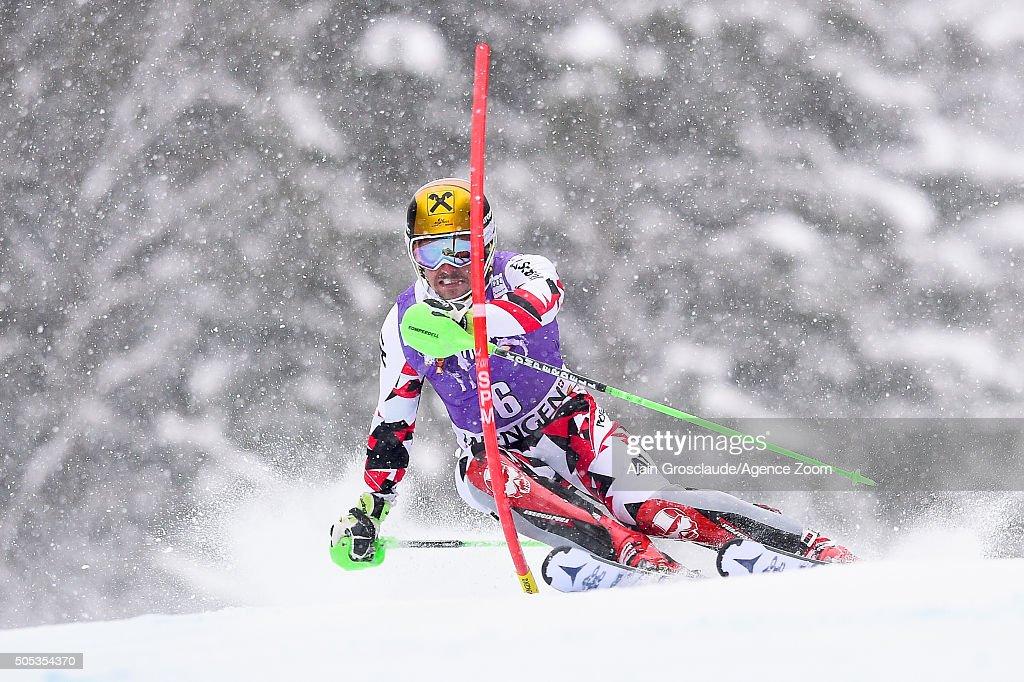 Marcel Hirscher of Austria competes during the Audi FIS Alpine Ski World Cup Men's Slalom on January 17 2016 in Wengen Switzerland