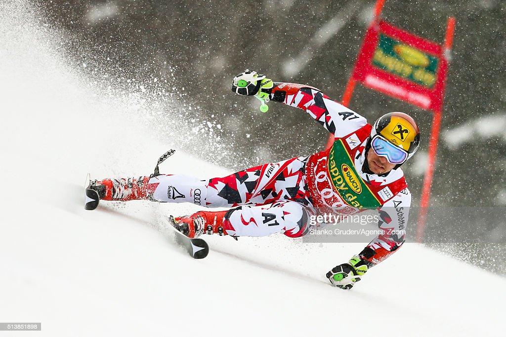 Marcel Hirscher of Austria competes during the Audi FIS Alpine Ski World Cup Men's Giant Slalom on March 05 2016 in Kranjska Gora Slovenia