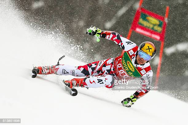 Marcel Hirscher of Austria competes during the Audi FIS Alpine Ski World Cup Men's Giant Slalom on March 05 2016 in Kranjska Gora Slovenia