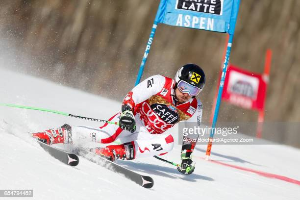 Marcel Hirscher of Austria competes during the Audi FIS Alpine Ski World Cup Finals Women's Slalom and Men's Giant Slalom on March 18 2017 in Aspen...