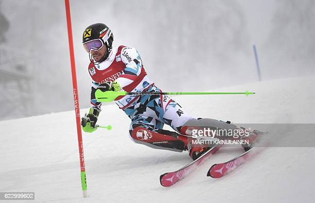 Marcel Hirscher of Austria competes during the first run of the Men's FIS Alpine Skiing World Cup slalom race in Levi Kittilä Finland on November 13...