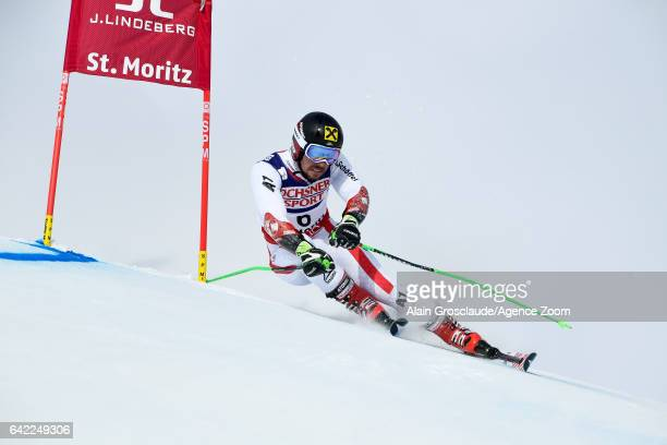 Marcel Hirscher of Austria competes during the FIS Alpine Ski World Championships Men's Giant Slalom on February 17 2017 in St Moritz Switzerland