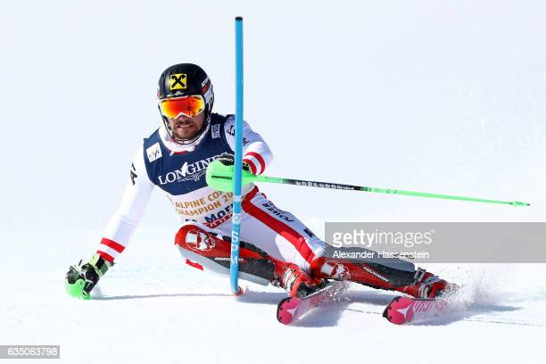 Marcel Hirscher of Austria competes in the Men's Combined Slalom during the FIS Alpine World Ski Championships on February 13 2017 in St Moritz...