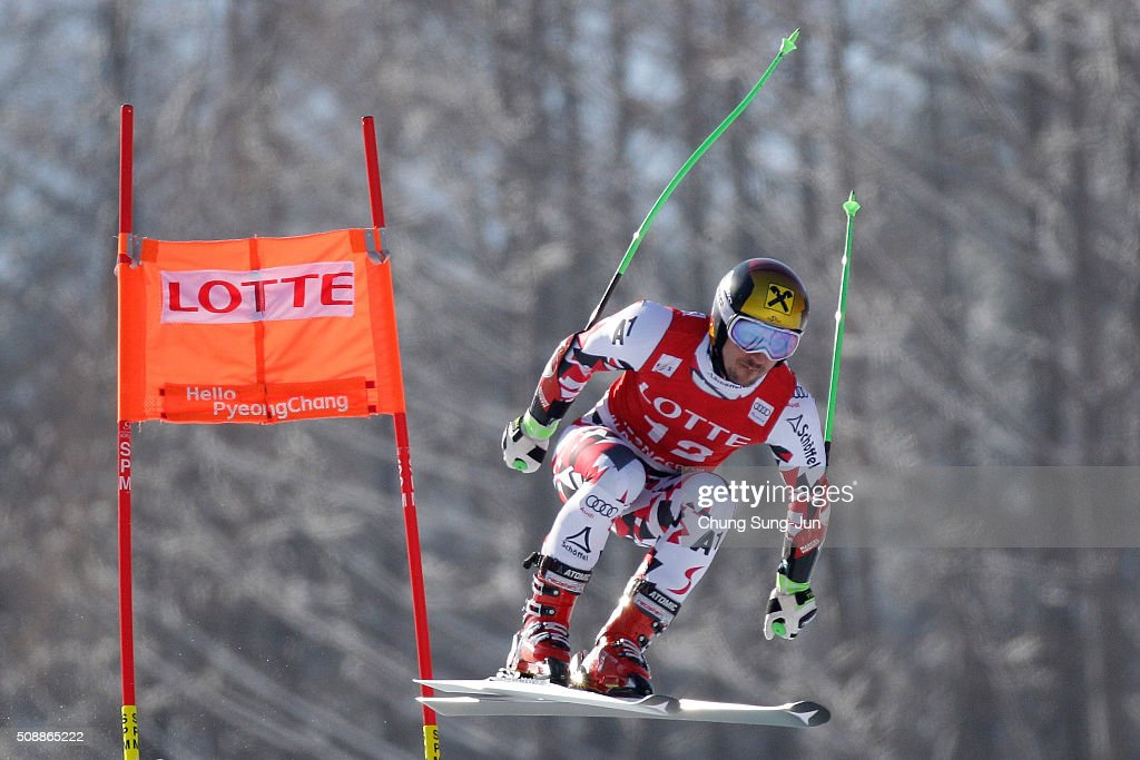 Marcel Hirscher of Austria competes in the Men's Super G Finals during the 2016 Audi FIS Ski World Cup at the Jeongseon Alpine Centre on February 7, 2016 in Jeongseon-gun, South Korea.