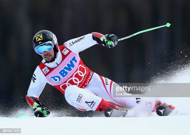 Marcel Hirscher of Austria competes in the second run of the Birds of Prey World Cup Giant Slalom race on December 3 2017 in Beaver Creek Colorado...