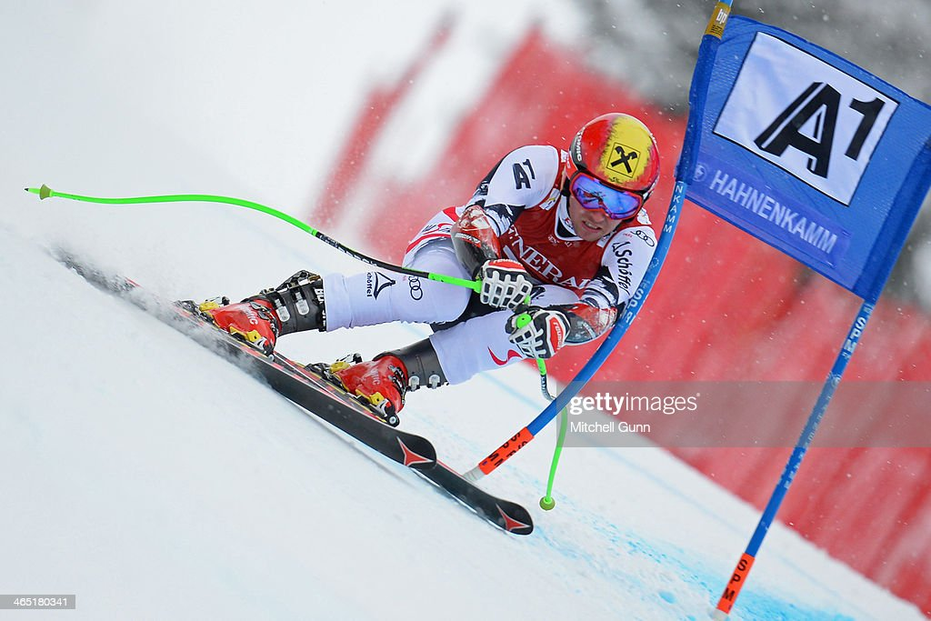 Marcel Hirscher of Austria competes in the Super G stage on the Hahnenkamm Course during the Audi FIS Alpine Ski World Cup Super Combined race on January 26, 2013 in Kitzbuhel, Austria.