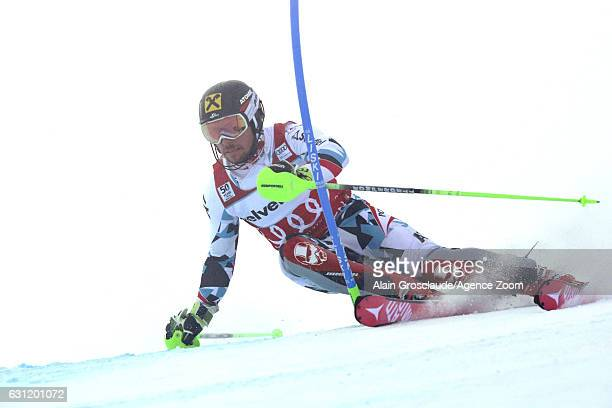 Marcel Hirscher of Austria in action during the Audi FIS Alpine Ski World Cup Men's Slalom on January 08 2017 in Adelboden Switzerland