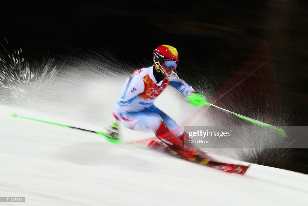 Marcel Hirscher of Austria in action in the second run during the Men's Slalom during day 15 of the Sochi 2014 Winter Olympics at Rosa Khutor Alpine...