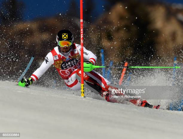 Marcel Hirscher of Austria makes the first run of the World Cup men's slalom race during the 2017 Audi FIS Ski World Cup Finals at Aspen Mountain on...