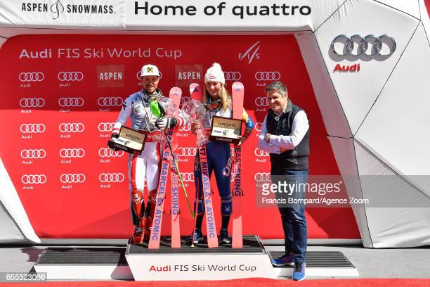 Marcel Hirscher of Austria Mikaela Shiffrin of USA win the globe in the overall standings Juan Carlos Capelli during the Audi FIS Alpine Ski World...