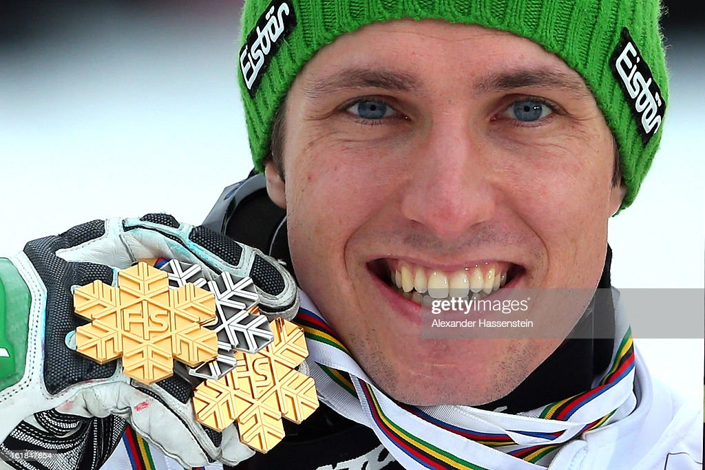 Marcel Hirscher of Austria poses with his gold medal after winning the Men's Slalom during the Alpine FIS Ski World Championships on February 17 2013...