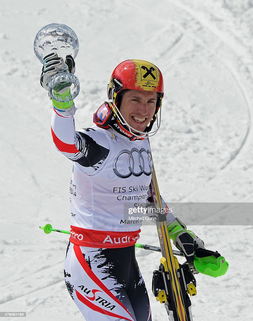 <a gi-track='captionPersonalityLinkClicked' href=/galleries/search?phrase=Marcel+Hirscher&family=editorial&specificpeople=4784559 ng-click='$event.stopPropagation()'>Marcel Hirscher</a> of Austria poses with the crystal globe for the overall title in the Audi FIS Alpine Skiing World Cup Finals Slalom on March 16, 2014 in Lenzerheide, Switzerland.