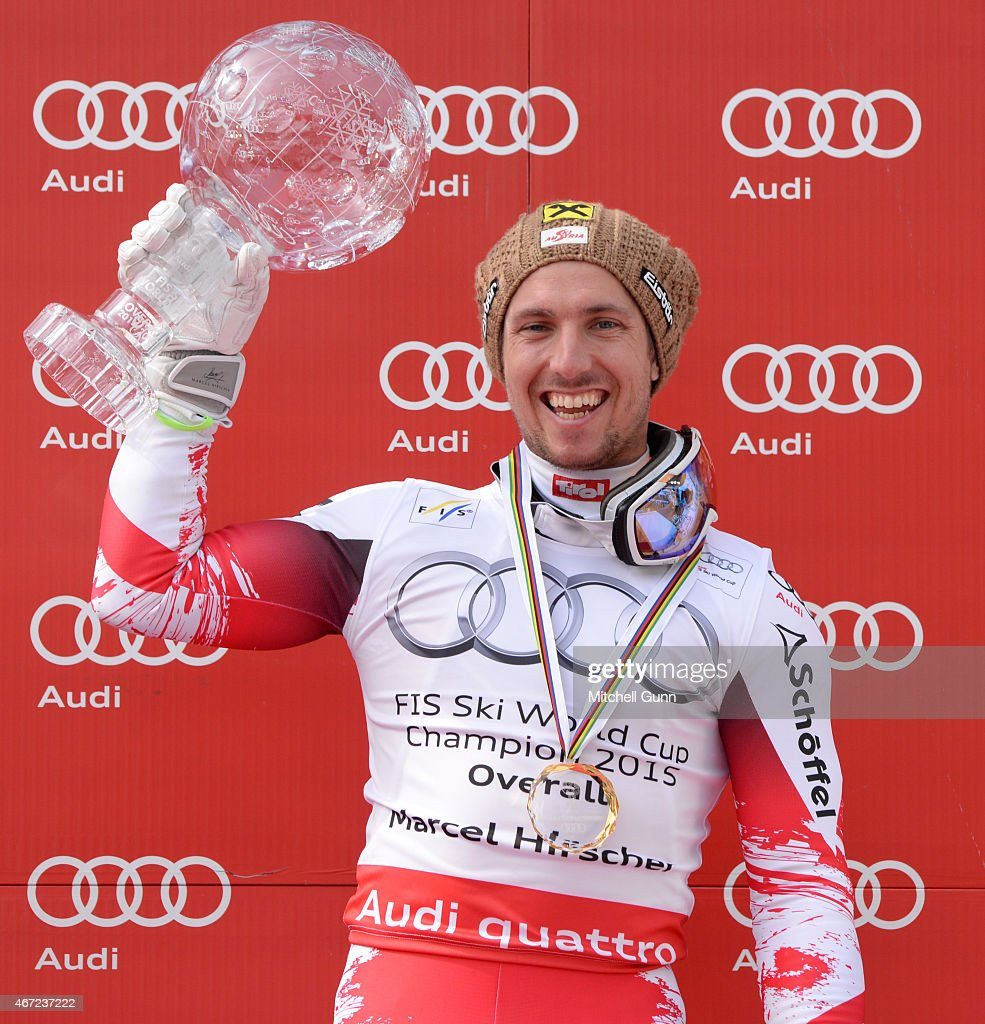Marcel Hirscher of Austria poses with the crystal globe for the overall title after the FIS Alpine Ski World Cup men's slalom race on March 22 2015...