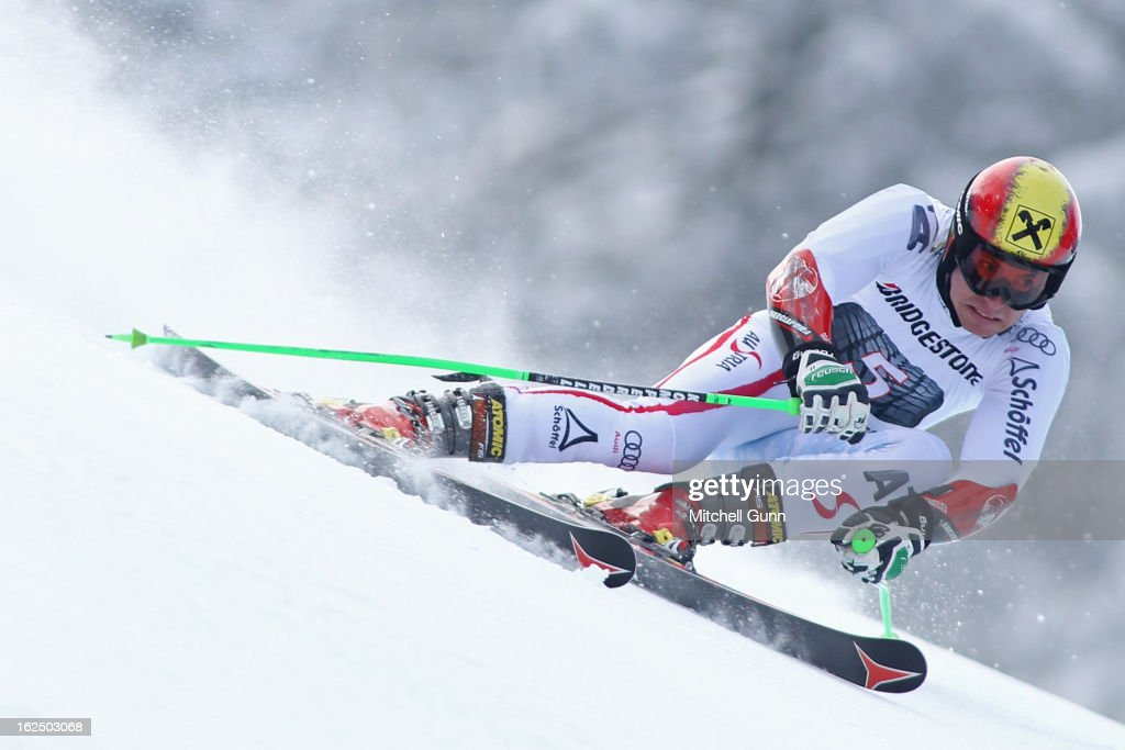 <a gi-track='captionPersonalityLinkClicked' href=/galleries/search?phrase=Marcel+Hirscher&family=editorial&specificpeople=4784559 ng-click='$event.stopPropagation()'>Marcel Hirscher</a> of Austria races down the course whilst competing in the Audi FIS Alpine Ski World Cup Men's Giant Slalom on February 24, 2013 in Garmisch Partenkirchen, Germany,