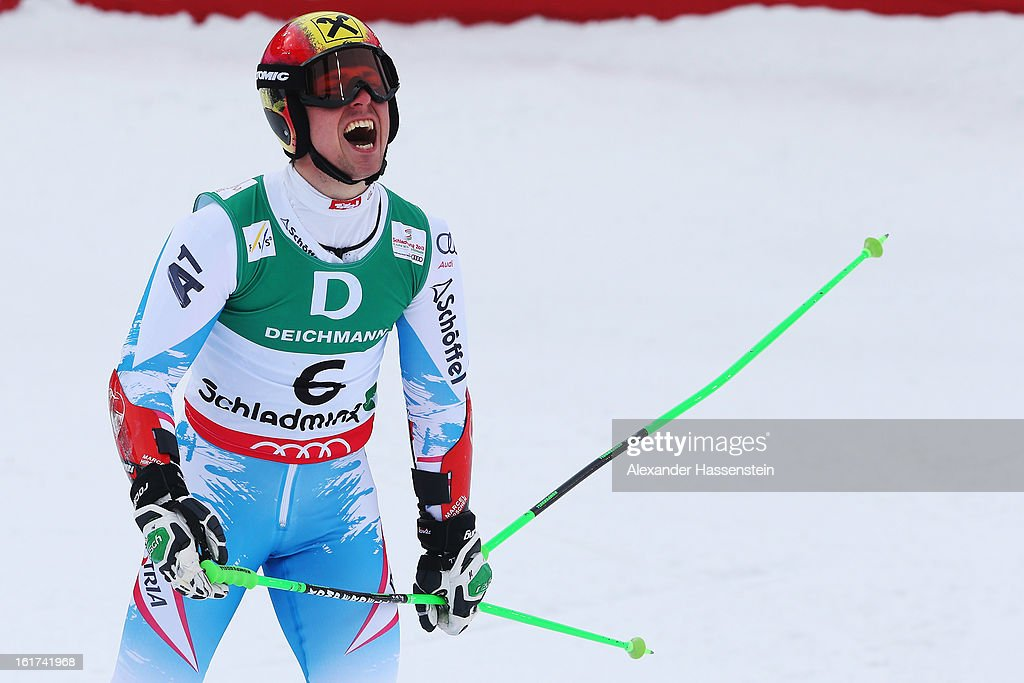 Marcel Hirscher of Austria reacts in the finish area after skiing on his way to finishing second in the Men's Giant Slalom during the Alpine FIS Ski World Championships on February 15, 2013 in Schladming, Austria.