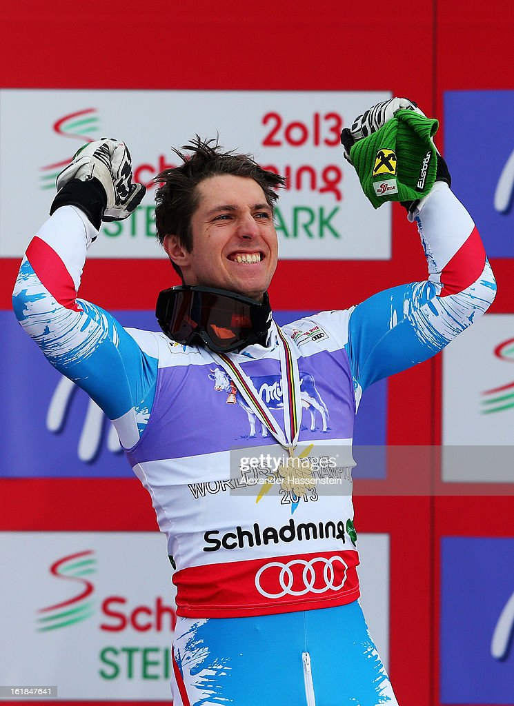 <a gi-track='captionPersonalityLinkClicked' href=/galleries/search?phrase=Marcel+Hirscher&family=editorial&specificpeople=4784559 ng-click='$event.stopPropagation()'>Marcel Hirscher</a> of Austria reacts in the finish area after winning gold in the Men's Slalom during the Alpine FIS Ski World Championships on February 17, 2013 in Schladming, Austria.