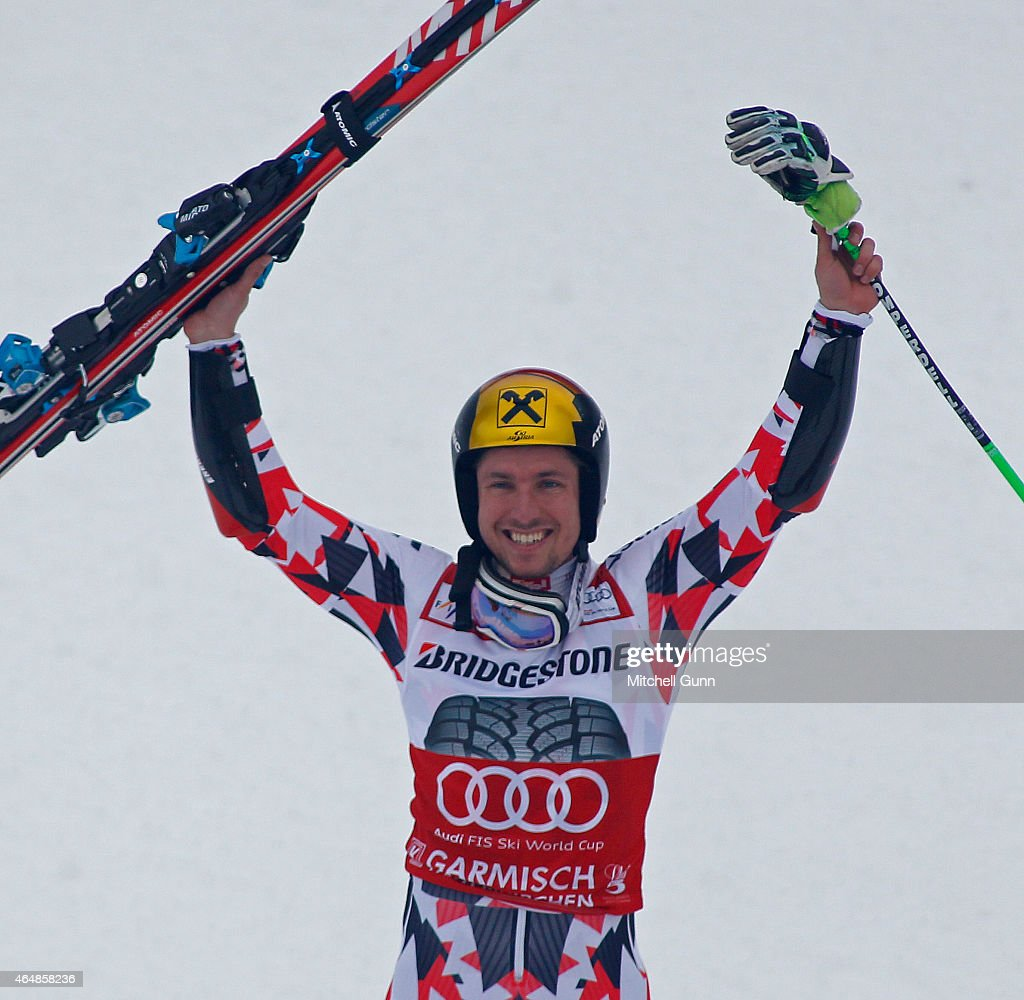 <a gi-track='captionPersonalityLinkClicked' href=/galleries/search?phrase=Marcel+Hirscher&family=editorial&specificpeople=4784559 ng-click='$event.stopPropagation()'>Marcel Hirscher</a> of Austria reacts in the finish area of the Audi FIS Alpine Ski World Cup giant slalom race on March 1, 2015 in Garmisch-Partenkirchen, Germany.