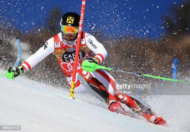 Marcel Hirscher of Austria skis his first run in the men's slalom during the 2017 Audi FIS Ski World Cup Finals at Aspen Mountain on March 19 2017 in...