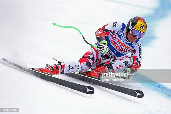 Marcel Hirscher of Austria skis to first place in the men's Super G at the 2015 Audi FIS Ski World Cup on the Birds of Prey on December 5 2015 in...
