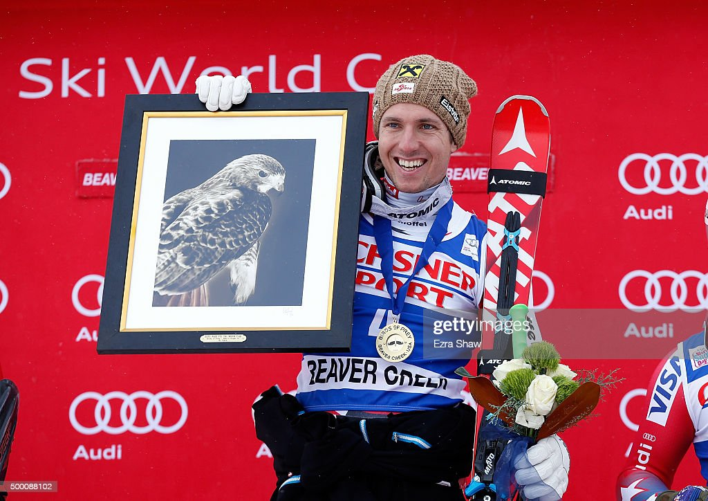 Marcel Hirscher of Austria stands on the podium after winning the Audi FIS Ski World Cup SuperG race on the Birds of Prey on December 5 2015 in...