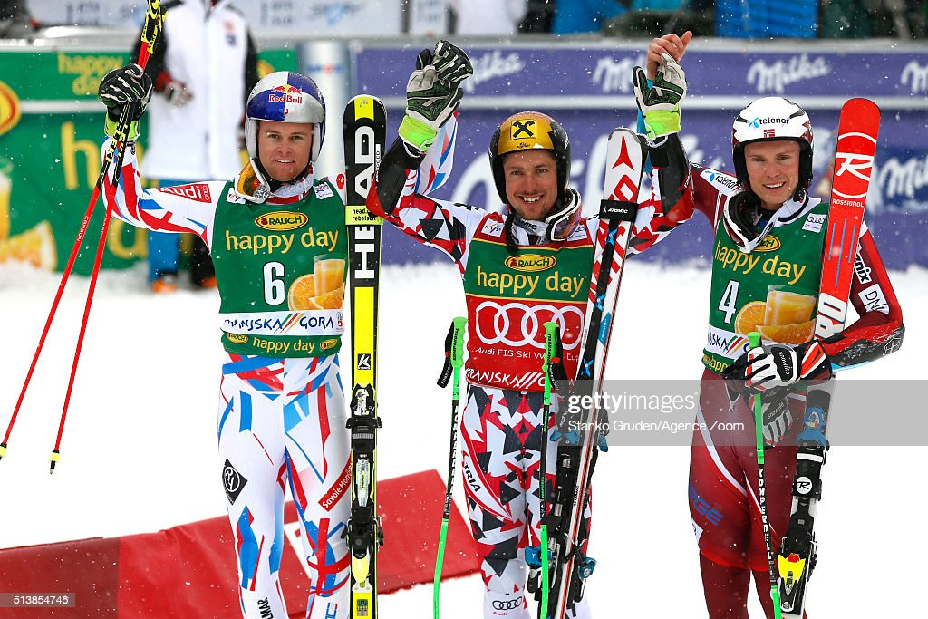 Marcel Hirscher of Austria takes 1st place Alexis Pinturault of France takes 2nd PlaceHenrik Kristoffersen of Norway takes 3rd place during the Audi...