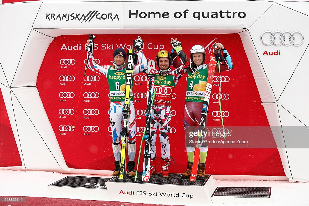 Marcel Hirscher of Austria takes 1st place, Alexis Pinturault of France takes 2nd Place,Henrik Kristoffersen of Norway takes 3rd place during the Audi FIS Alpine Ski World Cup Men's Giant Slalom on March 05, 2016 in Kranjska Gora, Slovenia.