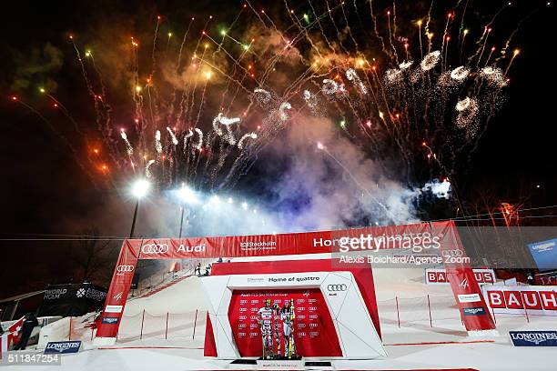 Marcel Hirscher of Austria takes 1st place and Wendy Holdener of Switzerland takes 1st place during the Audi FIS Alpine Ski World Cup Men's and...