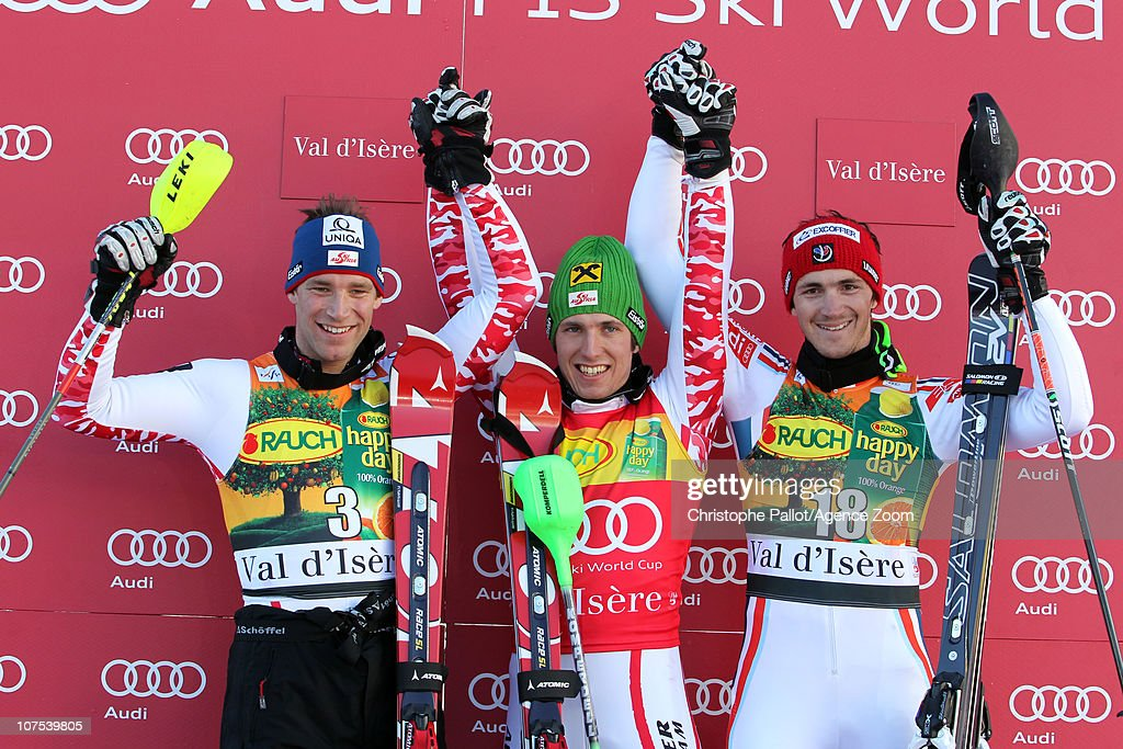 <a gi-track='captionPersonalityLinkClicked' href=/galleries/search?phrase=Marcel+Hirscher&family=editorial&specificpeople=4784559 ng-click='$event.stopPropagation()'>Marcel Hirscher</a> of Austria takes 1st place, <a gi-track='captionPersonalityLinkClicked' href=/galleries/search?phrase=Benjamin+Raich&family=editorial&specificpeople=209244 ng-click='$event.stopPropagation()'>Benjamin Raich</a> of Austria takes 2nd place, Steve Missillier of France takes 3rd place during the Audi FIS Alpine Ski World Cup Men's Slalom December 12, 2010 in Val d'Isere, France.