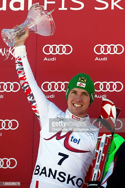 Marcel Hirscher of Austria takes 1st place competes during the Audi FIS Alpine Ski World Cup Men's Slalom on February 19 2012 in Bansko Bulgaria