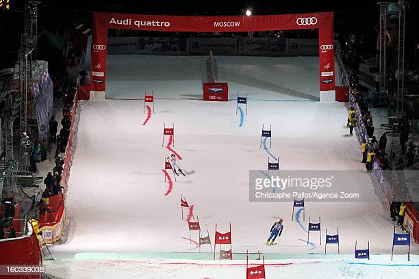 Marcel Hirscher of Austria takes 1st place competes during the Audi FIS Alpine Ski World Cup Men and Women's Parallel slalom on January 29 2013 in...