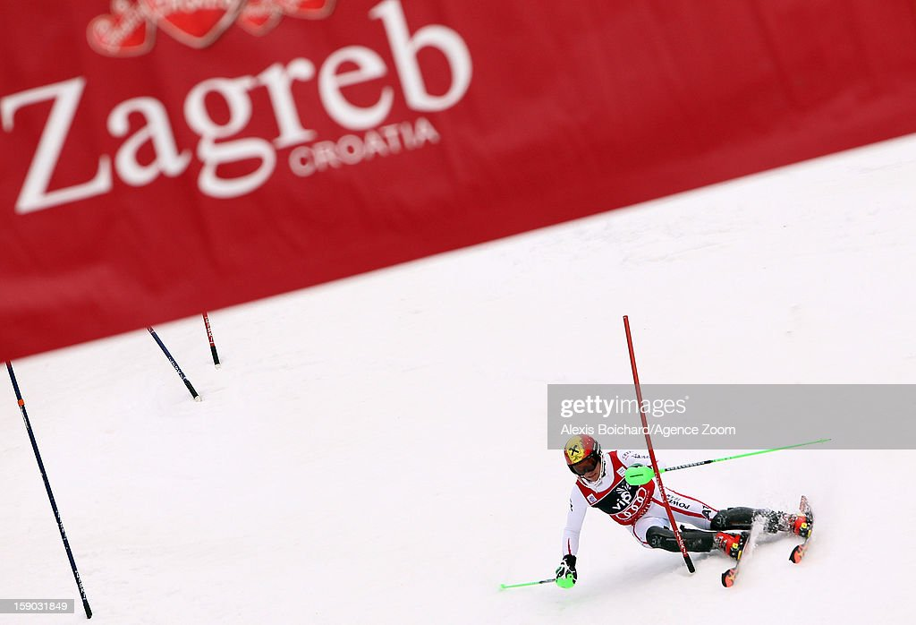 <a gi-track='captionPersonalityLinkClicked' href=/galleries/search?phrase=Marcel+Hirscher&family=editorial&specificpeople=4784559 ng-click='$event.stopPropagation()'>Marcel Hirscher</a> of Austria takes 1st place during the Audi FIS Alpine Ski World Cup Men's Slalom on January 6, 2013 in Zagreb, Croatia.