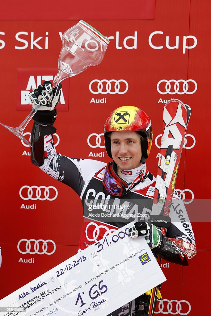 Marcel Hirscher of Austria takes 1st place during the Audi FIS Alpine Ski World Cup Men's Giant Slalom on December 22 2013 in Alta Badia Italy